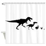 Dino Chicken Black Shower Curtain