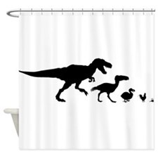 Dino Chicken Black Shower Curtain