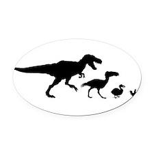 Dino Chicken Black Oval Car Magnet