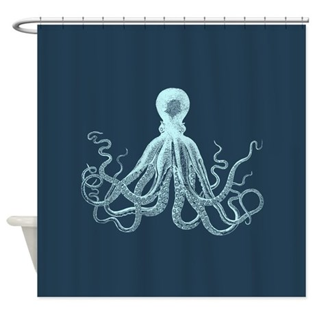 Lord Bodner Octopus Triptych (Blue) Shower Curtain