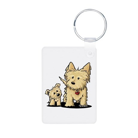 Cairn Mom & Puppy Aluminum Photo Keychain