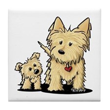 Cairn Mom & Puppy Tile Coaster