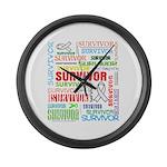 Survivor - Mesothelioma Large Wall Clock