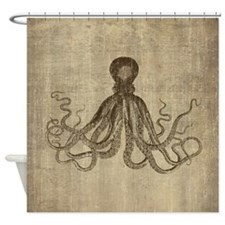 Vintage Lord Bodner Octopus Triptych Shower Curtai