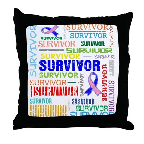 Survivor Male Breast Cancer Throw Pillow