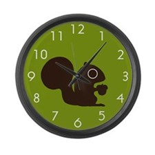 Squirrel with Nut Large Wall Clock