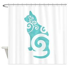 Swirly Cat Blue Shower Curtain
