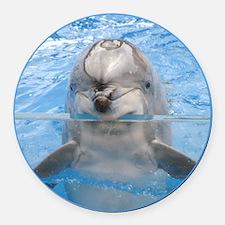 Helaine's Dolphin Round Car Magnet