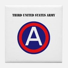 Third United States Army with Text Tile Coaster