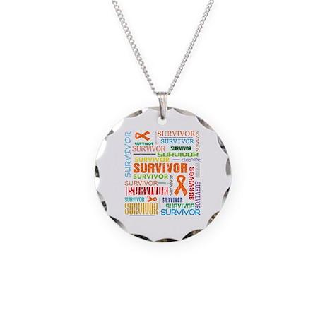 Survivor Colorful Leukemia Necklace Circle Charm