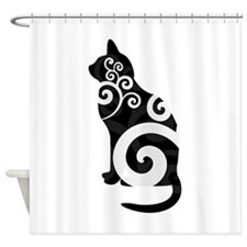Swirly Cat Black Shower Curtain
