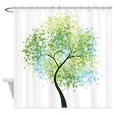 Spring Swirly Tree Shower Curtain
