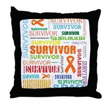 Survivor Colorful Kidney Cancer Throw Pillow