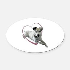 Love Jack Russell Dog Oval Car Magnet