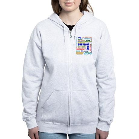 Survivor Colorful Colon Cancer Women's Zip Hoodie