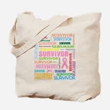 Survivor Colorful Breast Cancer Tote Bag
