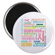"""Survivor Colorful Breast Cancer 2.25"""" Magnet (100"""