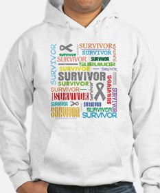 Survivor Colorful Brain Cancer Hoodie