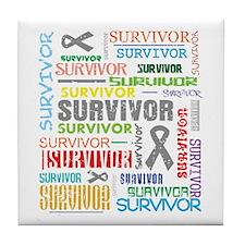 Survivor Colorful Brain Cancer Tile Coaster