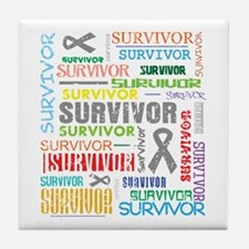 Survivor Colorful Brain Cancer Tile Coaster