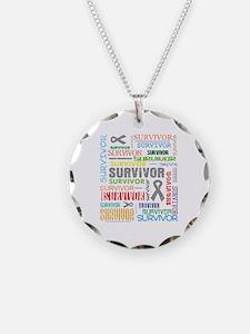 Survivor Colorful Brain Cancer Necklace Circle Cha