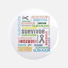 "Survivor Colorful Brain Cancer 3.5"" Button"