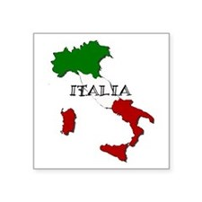 """Italy Flag Map Square Sticker 3"""" x 3"""""""