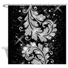Faux Glitter Floral Swirl Silver Shower Curtain