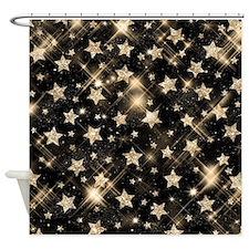 Faux Glitter Stars Gold Shower Curtain