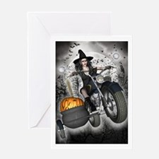 Witch Greetings Card - Biker Witch