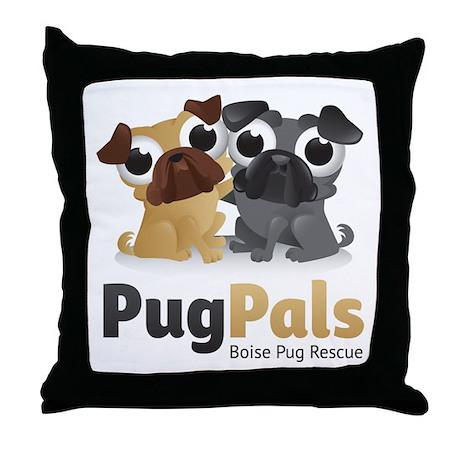 Pug Pals Logo Throw Pillow
