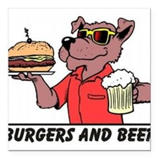 "Burgers and Beer Square Car Magnet 3"" x 3"""