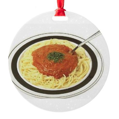 Meatballs Spegtti Round Ornament