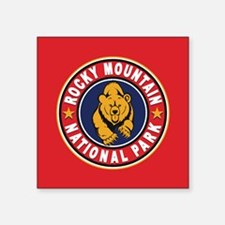 "Rocky Mountain Red Circle Square Sticker 3"" x 3"""