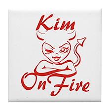 Kim On Fire Tile Coaster