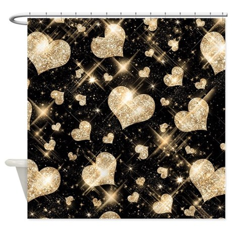 Faux glitter hearts gold shower curtain by rewards4lifegifts for White glitter bathroom accessories