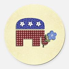 Patchwork Elephant Round Car Magnet