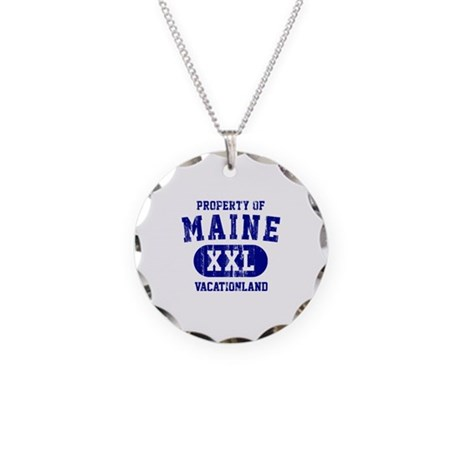 Property of Maine, Vacationland Necklace Circle Ch