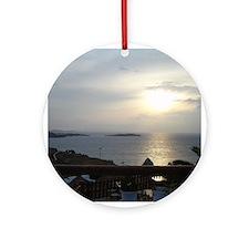 Mykonos Sunset 1 Ornament (Round)
