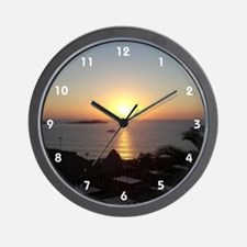 Mykonos Sunset 2 Wall Clock