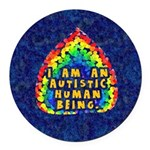 Autistic Human Being Round Car Magnet