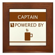 Captain Powered by Coffee Framed Tile