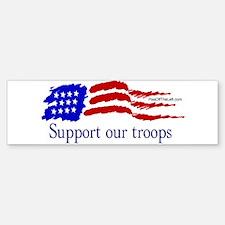 American Flag/Support Troops Bumper Bumper Bumper Sticker