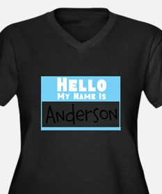 Personalized Name Tag Women's Plus Size V-Neck Dar
