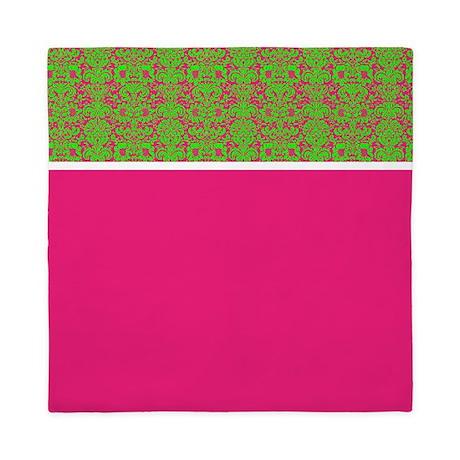 Hot Pink and Green Damask Queen Duvet