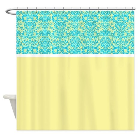 Yellow And Blue Damask Shower Curtain By Alondrascreations