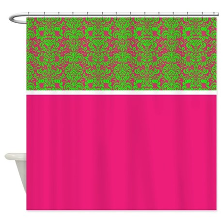 hot pink and green damask shower curtain by alondrascreations