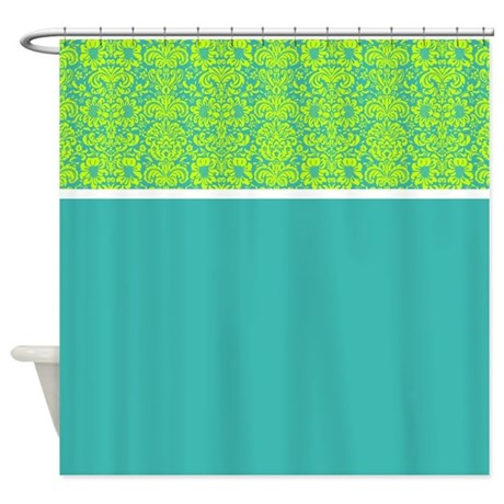 Teal And Green Damask Shower Curtain By Alondrascreations