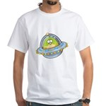Space Alien Penguin White T-Shirt