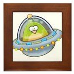 Space Alien Penguin Framed Tile